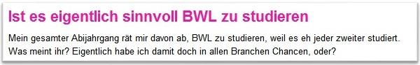 Forum BWL Studium sinnvoll?
