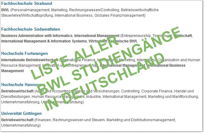BWL Studiengänge in Deutschland
