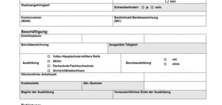 Personalfragebogen